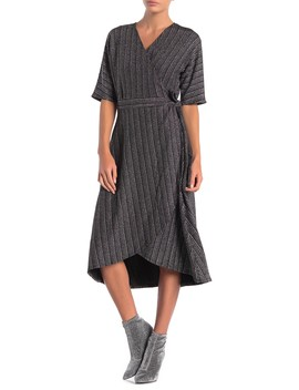 Lurex Stripe Dolman Sleeve Wrap Dress by Spense