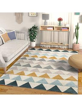 "Well Woven Lincoln Modern Scandinavian Triangles Geometric Gold & Blue Area Rug 5x7 (5'3"" X 7'3"") by Well Woven"