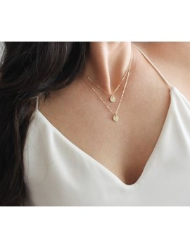 Dainty Layered Necklace Set Of 2,  Initial Necklace, Personalized Necklace, Silver, Rose Or Gold Double Strand Initial Layering Necklace by Etsy