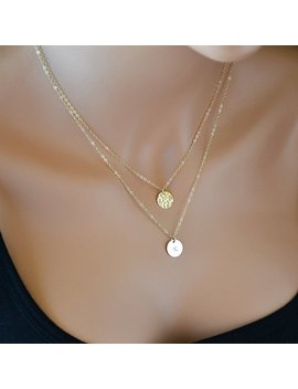 Double Strand Necklace, Layered Necklace, Gold Hammered Disc Necklace, Initial Necklace, Personalized, Monogram by Etsy