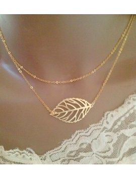 Leaf Necklace,Gold Leaf Necklace,Christmas Gift, Bridesmaid Jewelry, Bridesmaid Gift,Double Strand Necklace,Double Chain Necklace by Etsy
