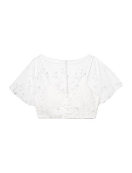 Arwen Cropped Embroidered Tulle And Crepe Top by Rime Arodaky