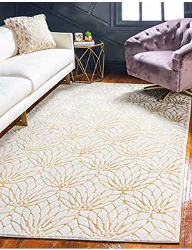 Unique Loom Marilyn Monroe Glam Collection Textured Lotus Floral White Gold Area Rug (5' X 8') by Unique Loom