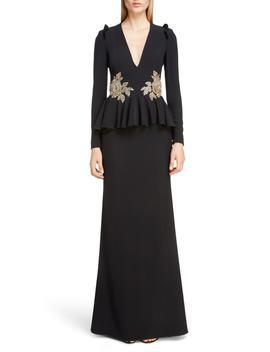 Embellished Peplum Waist Gown by Alexander Mcqueen
