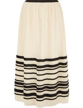 Pleated Striped Tulle Midi Skirt by Red Valentino