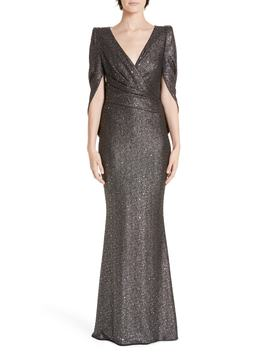 Sequined V Neck Evening Dress by Talbot Runhof
