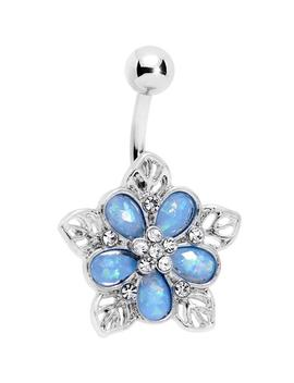 Blue Faux Opal Filigree Holiday Flower Belly Ring by Body Candy