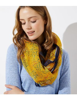 Bordered Floral Sketch Infinity Scarf by Loft