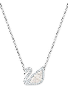 "Silver Tone Crystal & Imitation Pearl Swan 14 3/4"" Pendant Necklace by Swarovski"