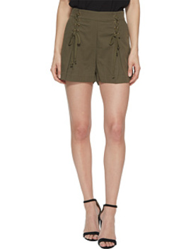 Flat Front Shorts W/ Lace Up Waist Detail by 1.State