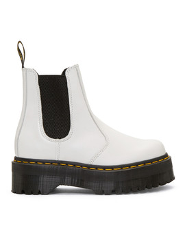 White 2976 Quad Chelsea Boots by Dr. Martens