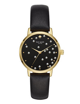 Women's Metro Black Leather Strap Watch 34mm Ksw1395 by Kate Spade New York