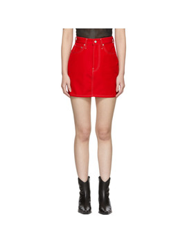 Red Denim Femme Hi Miniskirt by Helmut Lang