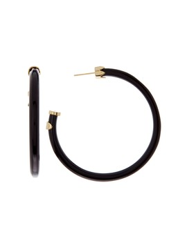 18 K Gold Plated Sterlin G Silver & Black Horn 50mm Hoop Earrings by Argento Vivo