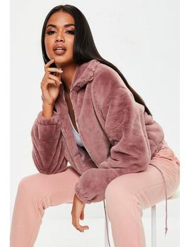 Mauve Faux Fur Bomber Jacket by Missguided