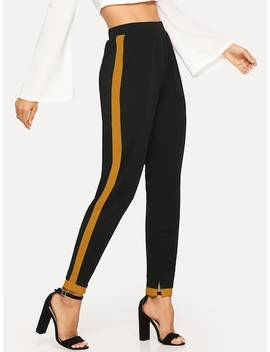 Contrast Panel High Waist Pants by Shein