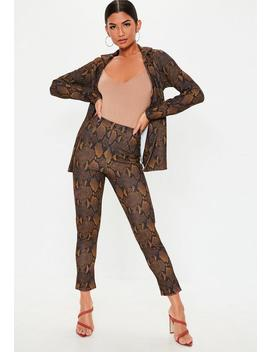 Brown Snake Print Co Ord Pants by Missguided