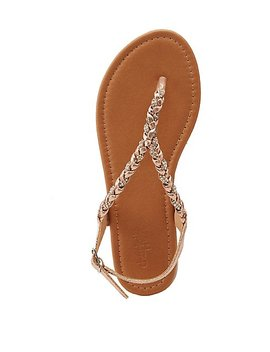 Crystal Braided Flat Sandals by Charlotte Russe