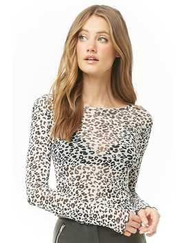 Leopard Print Lettuce Edge Top by Forever 21