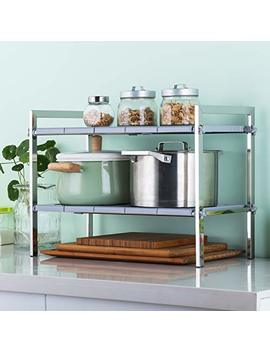 Singaye 2 Tier Expandable Under Sink Rack Kitchen Storage Adjustable Multifunctional Storage Rack Kitchen And Bathroom Cabinet Shelf Organizer by Singaye