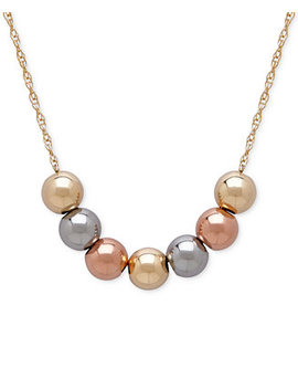 Tri Tone Beaded Statement Necklace In 10k Yellow, White And Rose Gold by Macy's