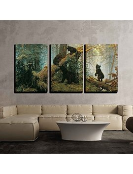 "Wall26 3 Piece Canvas Wall Art   Black Bears Playing On Fallen Broken Trees Painting By Ivan Shishkin Giclee   Modern Home Decor Stretched And Framed Ready To Hang   24""X36""X3 Panels by Wall26"