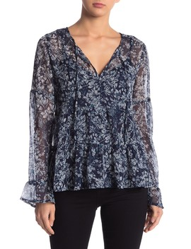 Bell Sleeve Printed Top by Lucky Brand