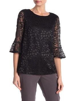 Floral Lace Bell Sleeve Top by Adrianna Papell