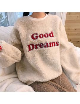 Icecream12   Letter Patch Fleece Sweatshirt by Icecream12