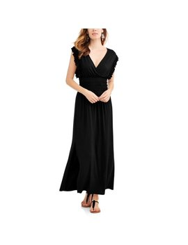Women's Smock Waist Maxi Dress With Flutter Sleeves by Time And Tru