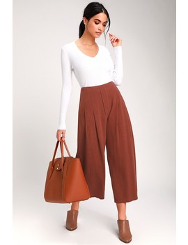 Kylen Rust Brown Wide Leg Culotte Pants by Lush