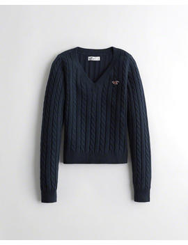 Cable V Neck Sweater by Hollister