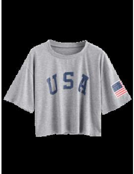 Zaful American Flag Print Tee   Gray Goose S by Zaful