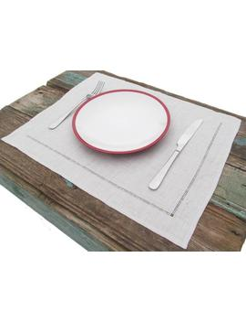 Linen Placemats With Hemstitch Decorated Eco Napkins, Kitchen Place Mats Linen Napkins Sets Table Cloth Custom Handmade Christmas Gift by Etsy
