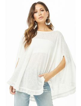 Sheer Ruffle Hem Poncho by Forever 21