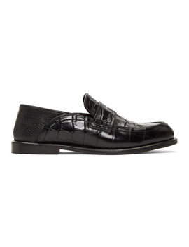 Black Croc Leather Slip On Loafers by Loewe