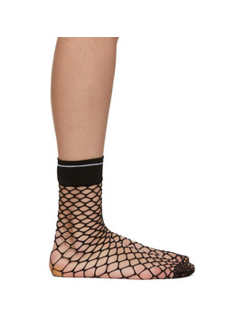 Black Logo Fishnet Sock by Prada