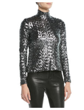 Celeste Sequin Turtleneck Long Sleeve Top by Alexis
