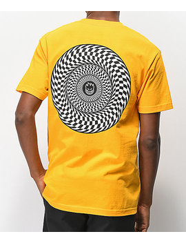 Spitfire Swirl Check Yellow T Shirt by Spitfire