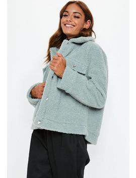 Mint Green Oversized Borg Trucker Jacket by Missguided