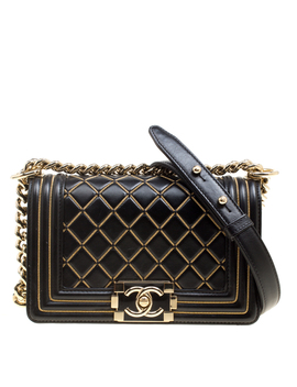 Chanel Black Quilted Leather Small Boy Chain Detail Flap Bag by The Luxury Closet