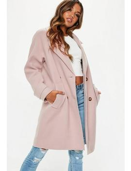 Blush Double Breasted Cocoon Coat by Missguided