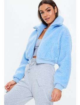Blue Chunky Crop Zip Through Borg Jacket by Missguided