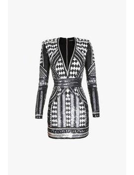 Robe Courte à Sequins  Et Motifs Géométriques by Balmain