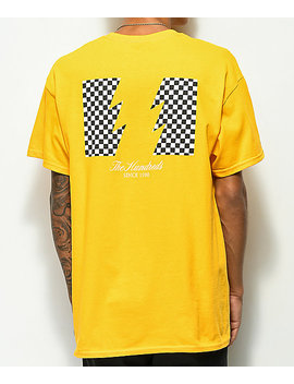 The Hundreds Checkered Flag Gold T Shirt by The Hundreds