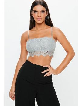 Grey Straight Neck Strappy Lace Bralet by Missguided