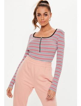 Pink Stripe Zip Front Bodysuit by Missguided