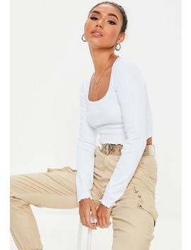 White Lettuce Hem Crop Top by Missguided