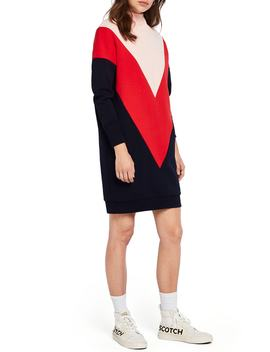 Colorblock Turtleneck Sweatshirt Dress by Scotch & Soda
