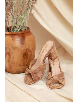 Asher Beige Fabric Knotted High Heel Sandals by Lulus
